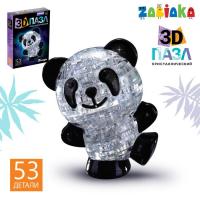 Пазл 3D кристаллический «Панда», 53 детали, световой эффект, работает от батареек