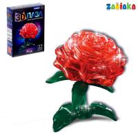 Пазл 3D кристаллический «Роза», 22 детали, световые эффекты, работает от бат