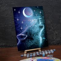 Лунная роспись по номерам без подрамника «Волк»