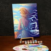 Лунная роспись по номерам без подрамника «Девушка у моря»