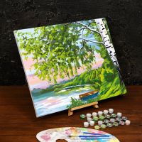 Картина по номерам «Береза у озера»