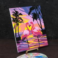 Картина по номерам «Фламинго на закате»