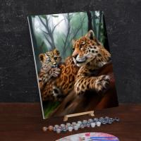 Картина по номерам «Леопарды. Мама и малыш»