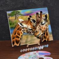 Картина по номерам «Жирафы. Нежность»