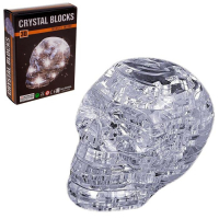 3D пазл кристаллический «Череп, 49 деталей, световые эффекты, работает от бат