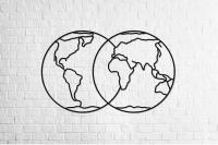 Деревянный интерьерный пазл «Полушария Земли»