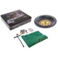 Игровой набор: рулетка (карты 54 шт, фишки 100 шт, кубики 4 шт, сукно)