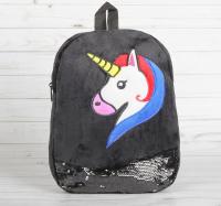 Мягкий рюкзак «Единорог», с пайетками, цвет чёрный