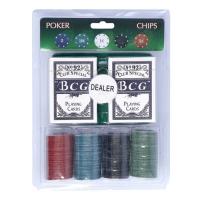 Набор для покера с номиналом (карты 2 колоды, фишки 100 шт, сукно 40х60 см)