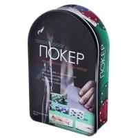 Покерный набор в железной коробке 120 фишек